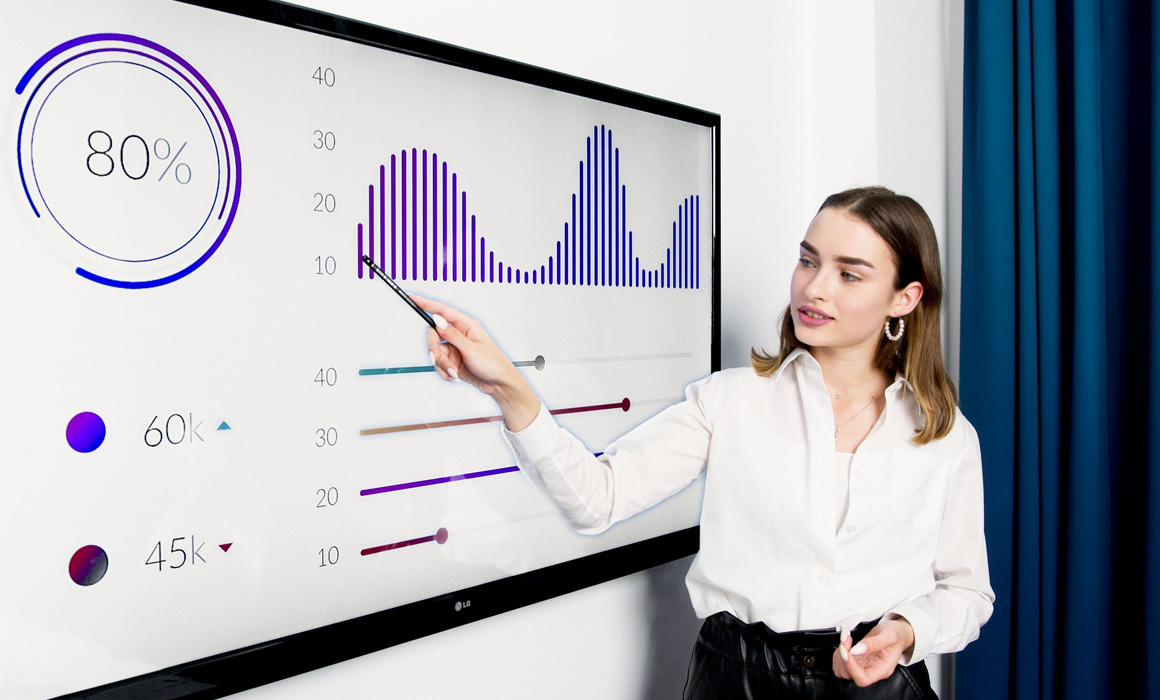 Jeune femme devant un tableau graphique