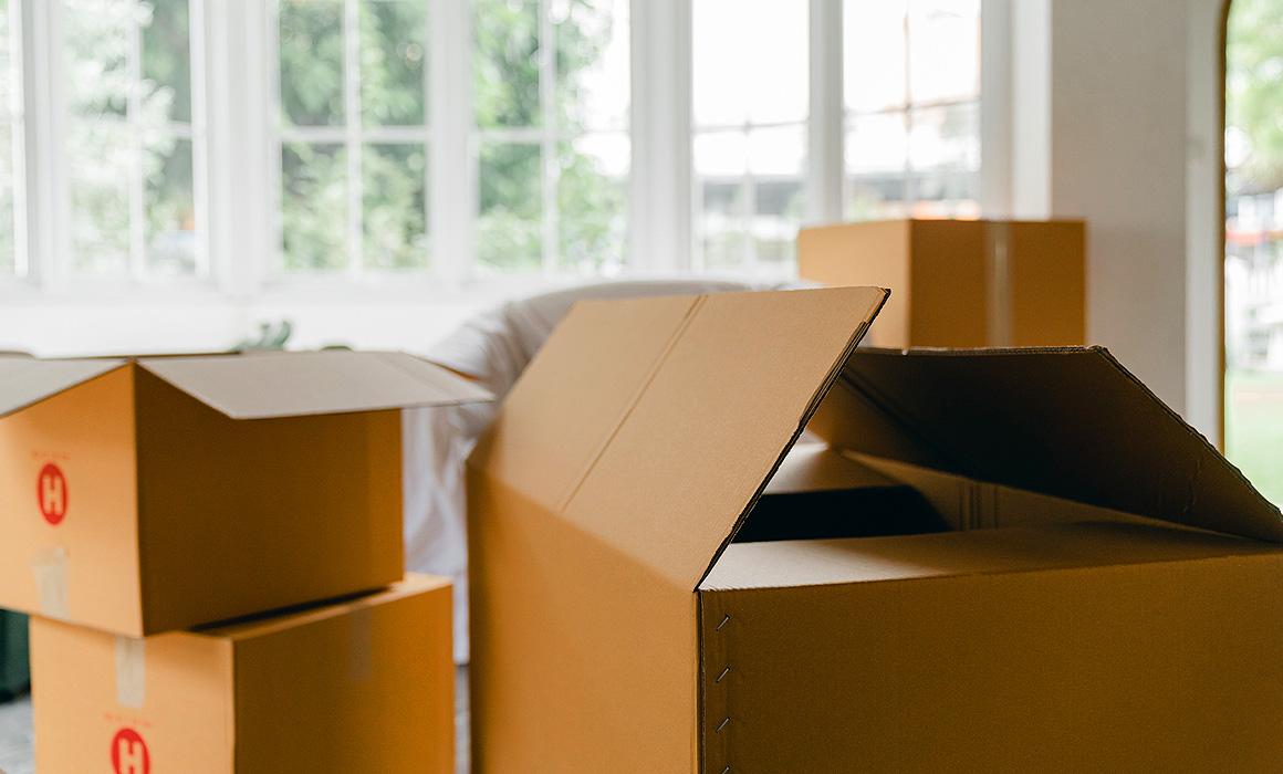 Cartons dans un appartement
